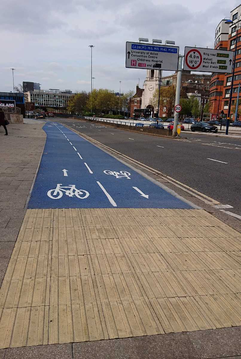 New blue cycleway open up the A34 towards Perry Barr