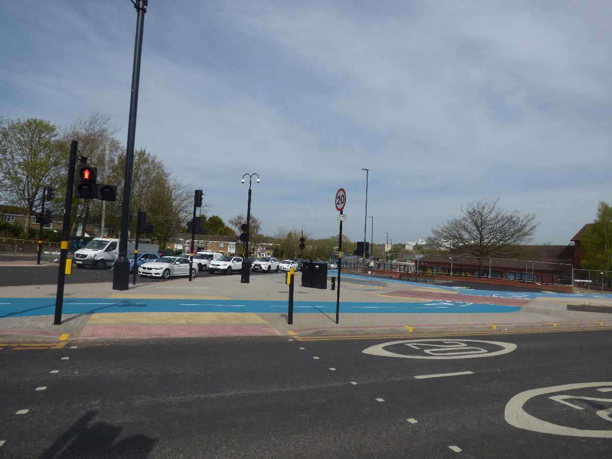 New blue cycle lane from Selly Oak Triangle up the Bristol Road